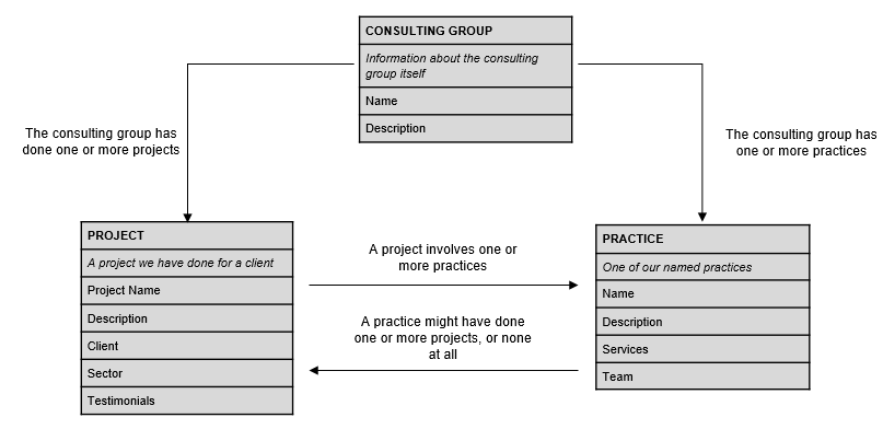 full information model for consulting group microsite showing entities, attributes, and relationships