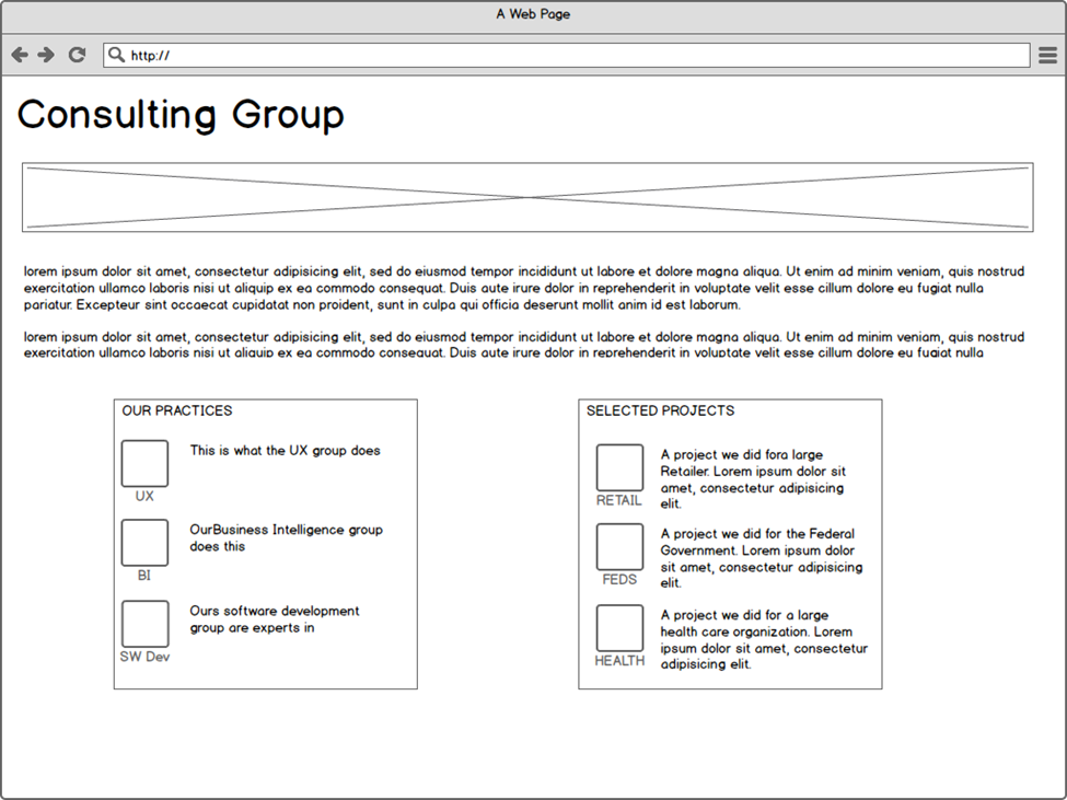 wireframe for microsite landing page based on information model, showing flexible user navigation