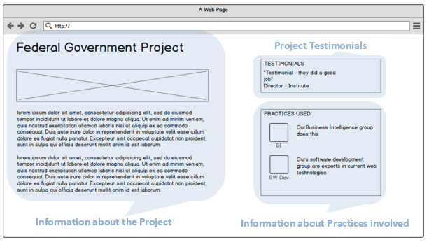 wireframe for a Project page showing relationship to information model
